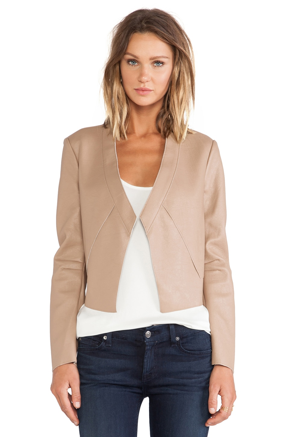 BCBGMAXAZRIA Lloyd Leather Jacket in Camel