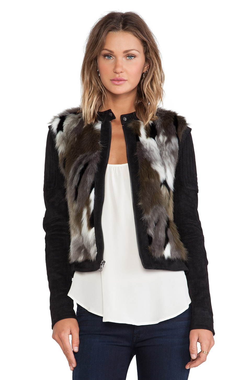 BCBGMAXAZRIA Faux Fur Dimitri Jacket in Dark Fatigue Combo