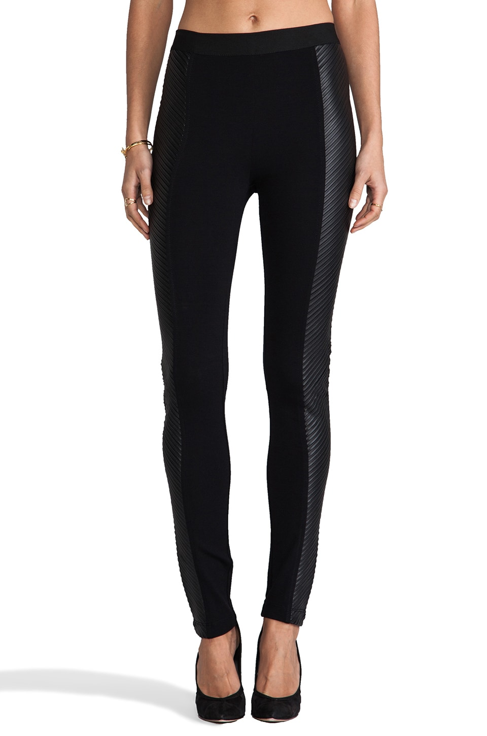 BCBGMAXAZRIA Vegan Leather Side Panel Leggings in Black