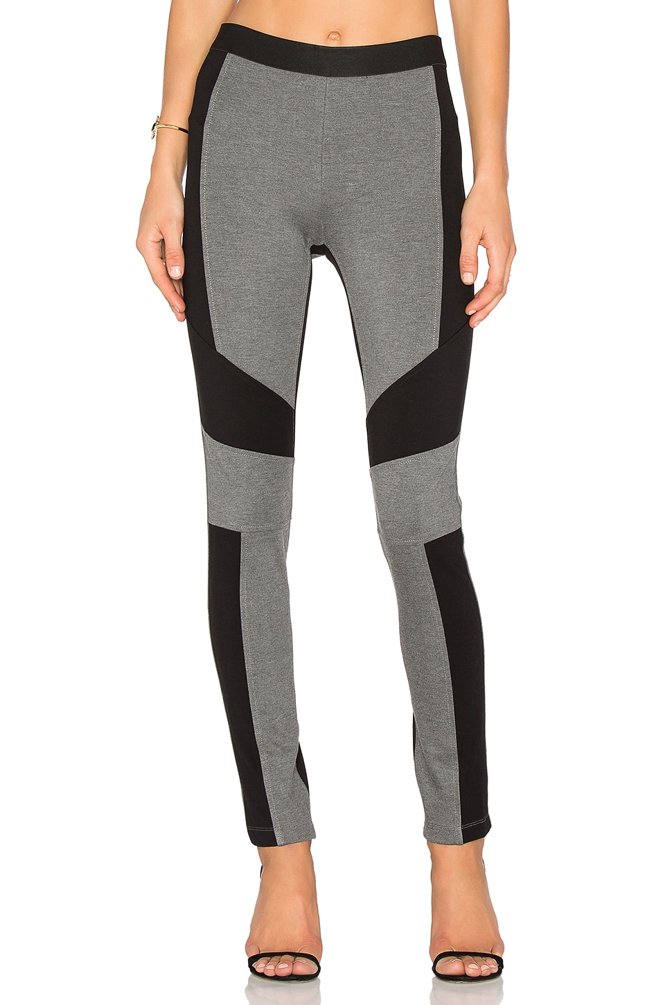BCBGMAXAZRIA Colorblock Legging in Medium Heather Grey Black Combo