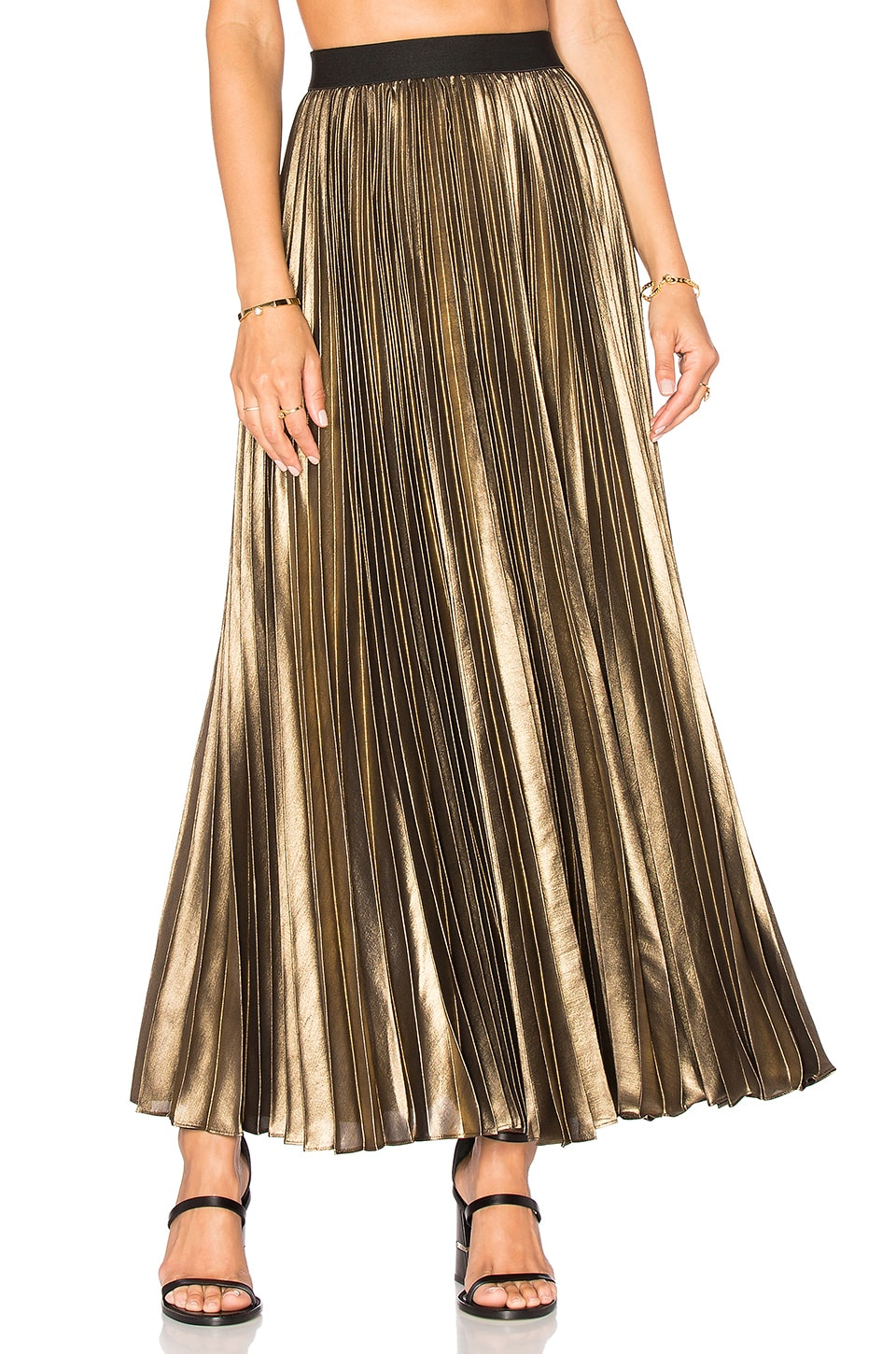 BCBGMAXAZRIA Pleated Maxi Skirt in Black Gold | REVOLVE