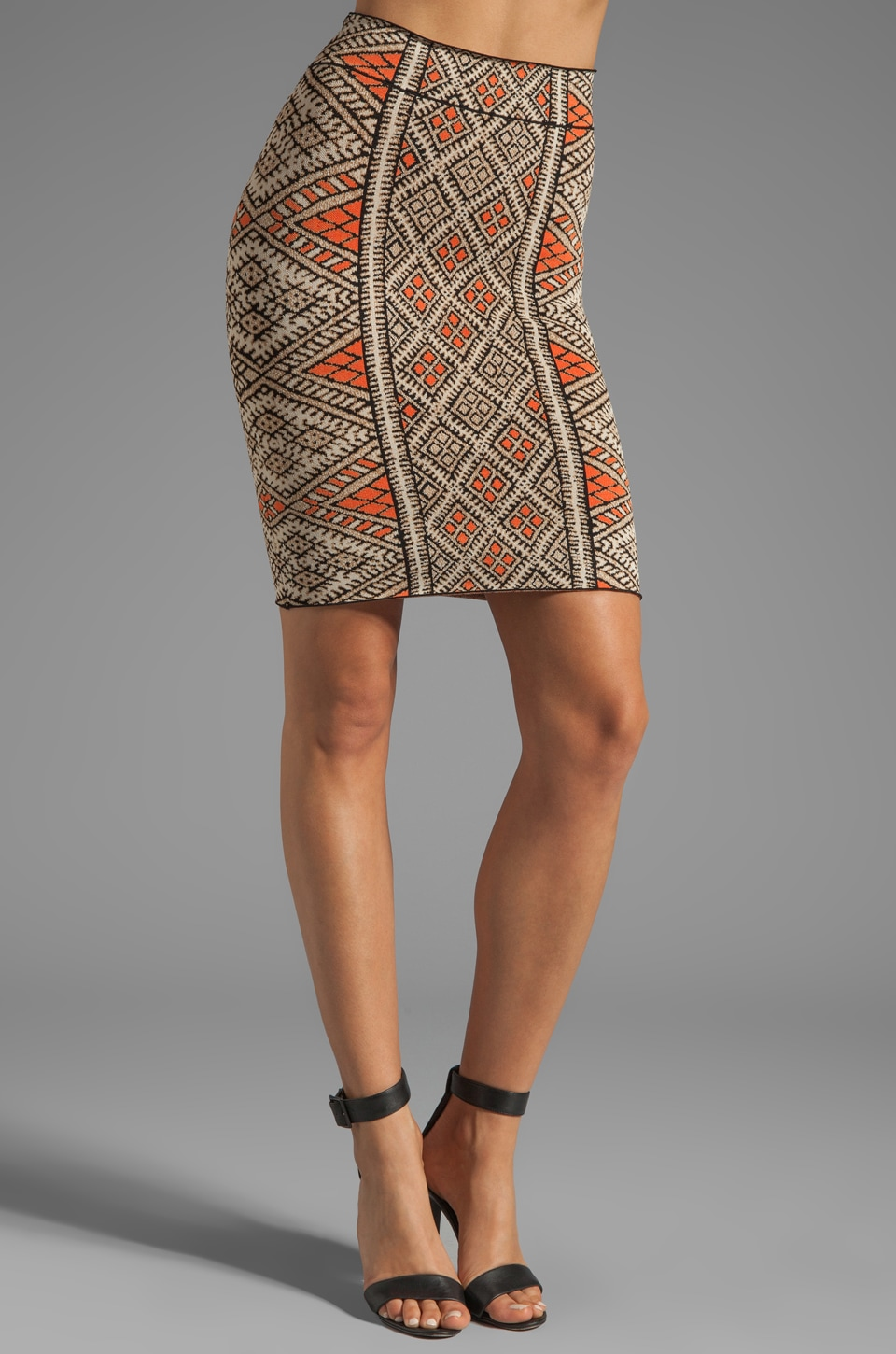 BCBGMAXAZRIA Pencil Skirt in Coral Reef Combo