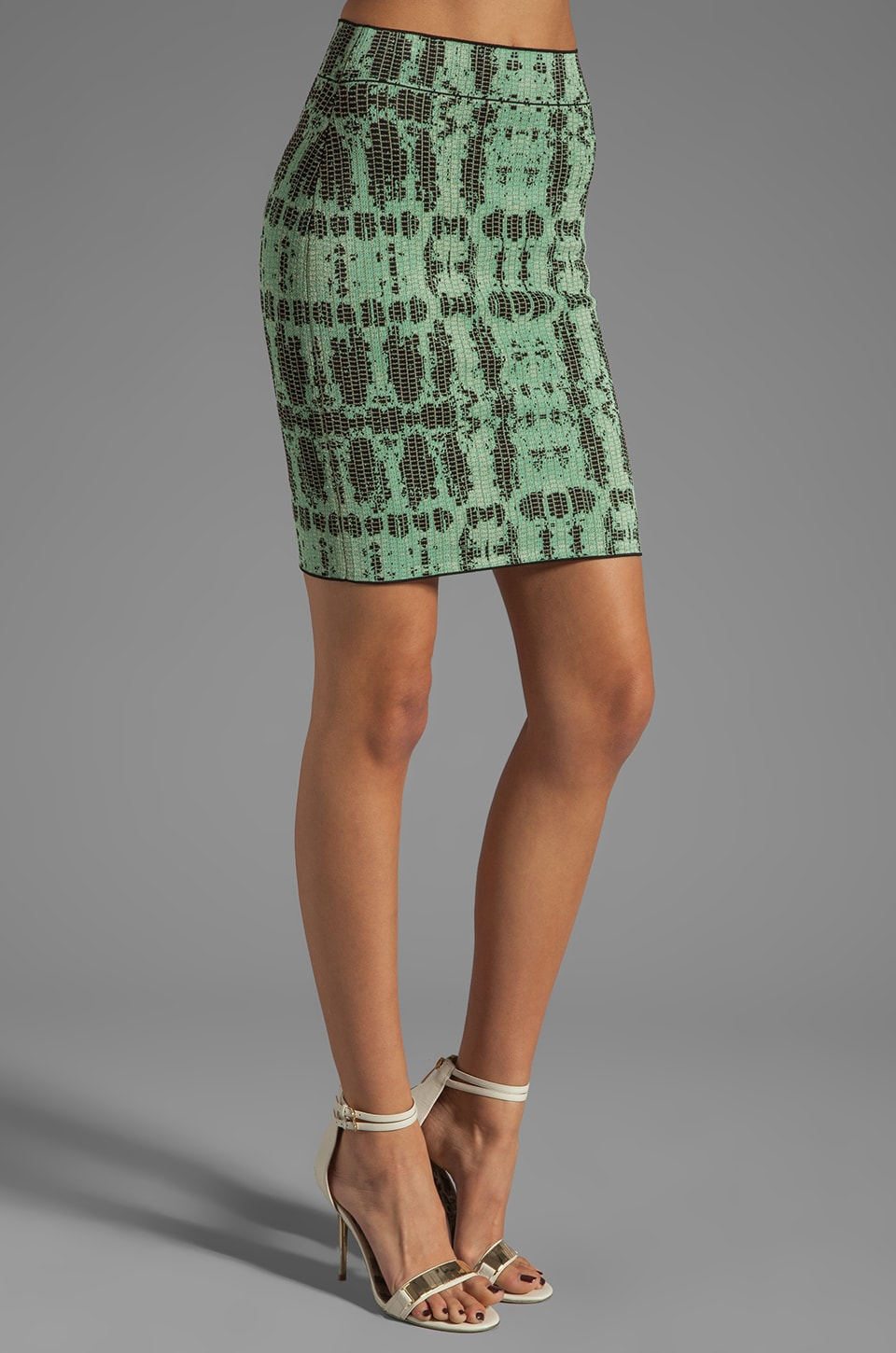 BCBGMAXAZRIA Printed Skirt in Kelly Green Combo