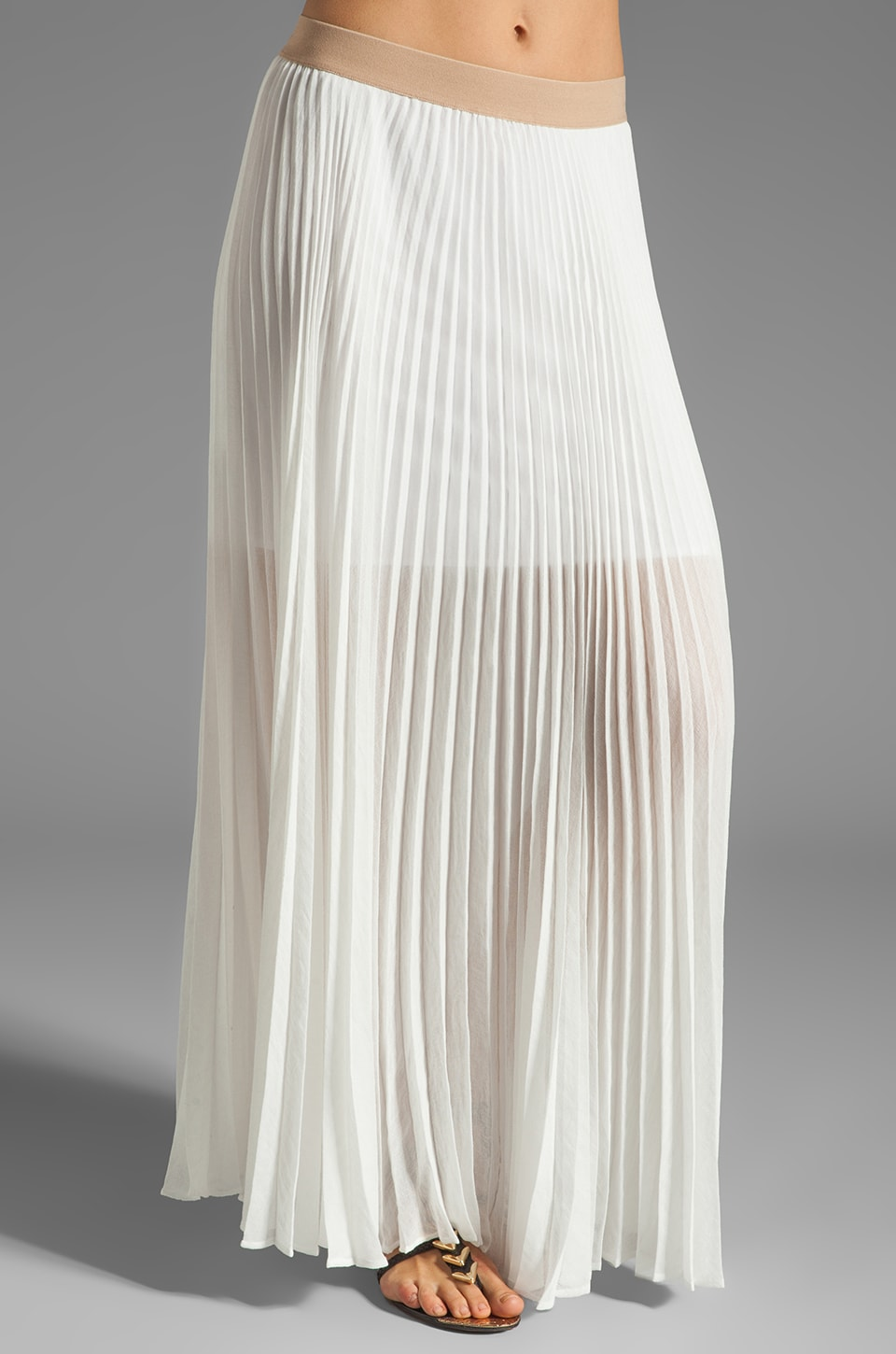 BCBGMAXAZRIA Pleated Maxi Skirt in White