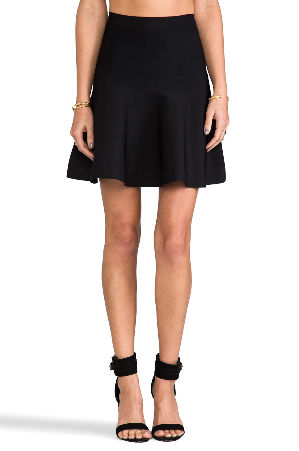 BCBGMAXAZRIA High Waisted Flare Skirt in Black