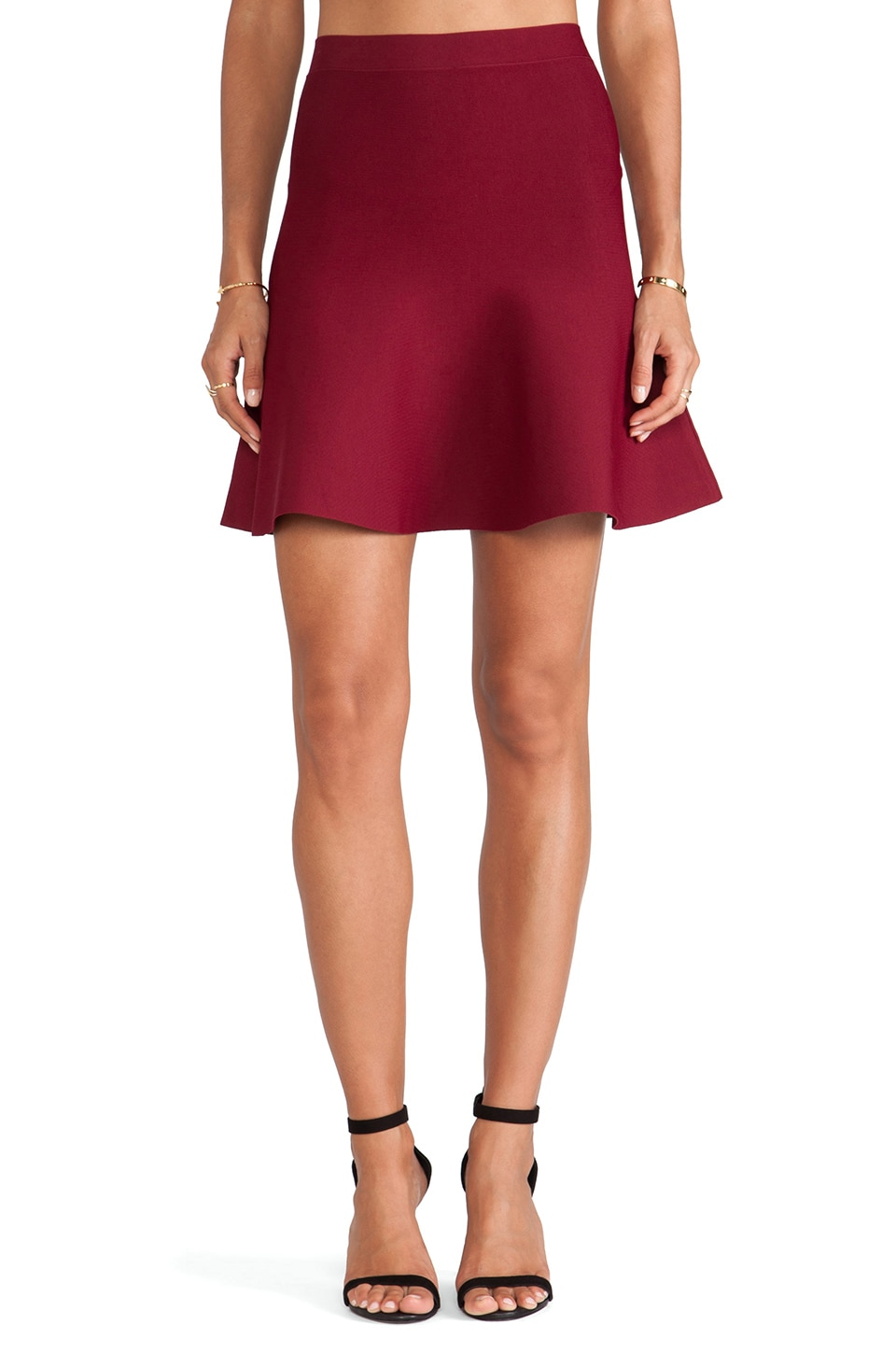 BCBGMAXAZRIA Ingrid Circle Skirt in Deep Cranberry