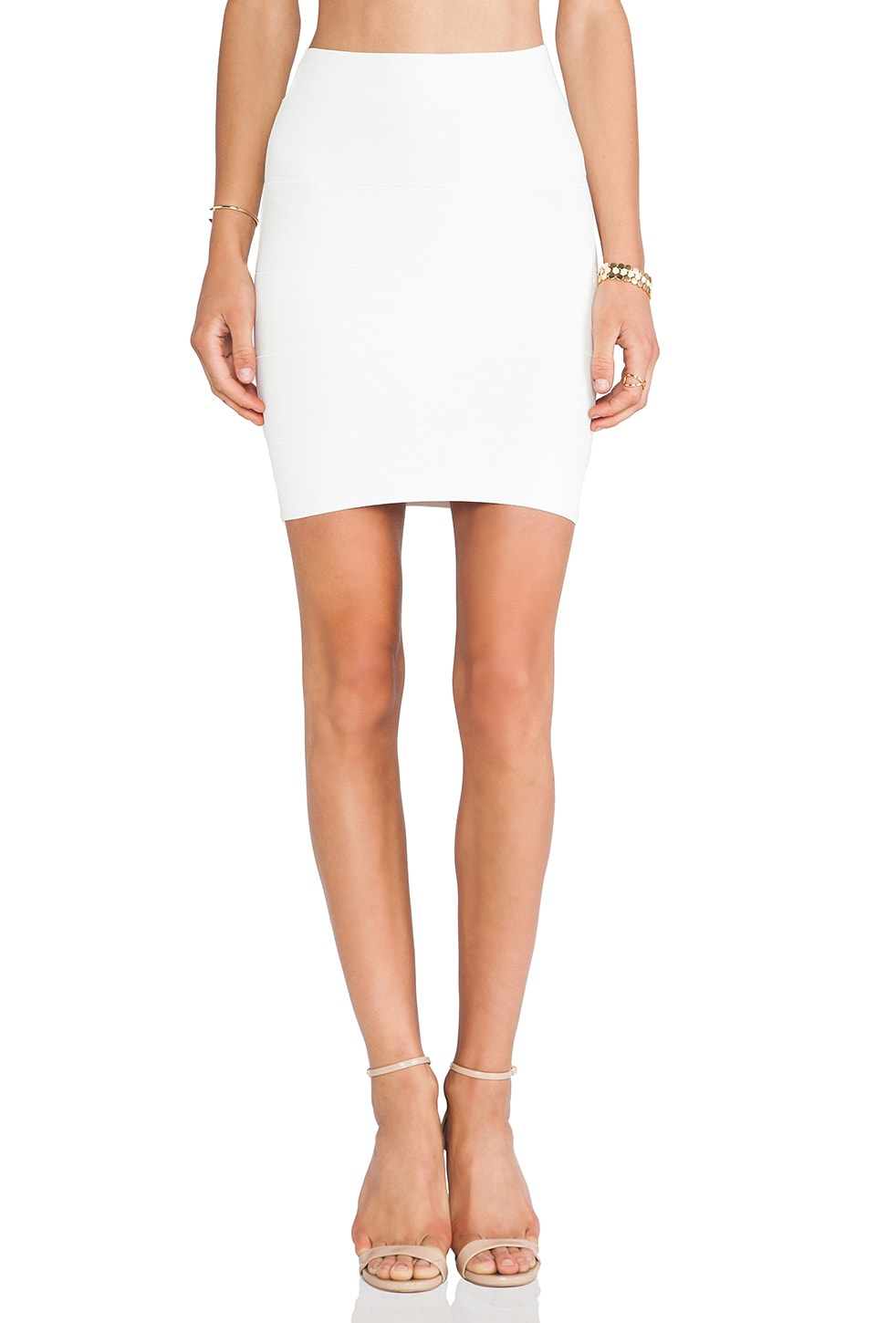 BCBGMAXAZRIA Mini Body Con Skirt in White