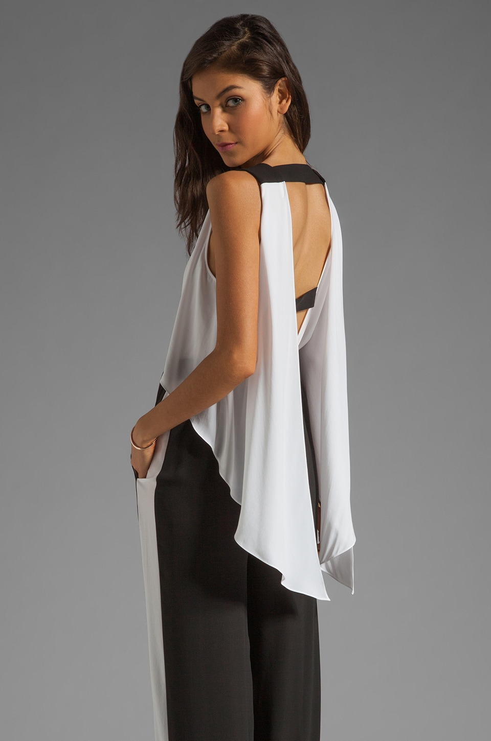 BCBGMAXAZRIA Long Jumper in Black Combo