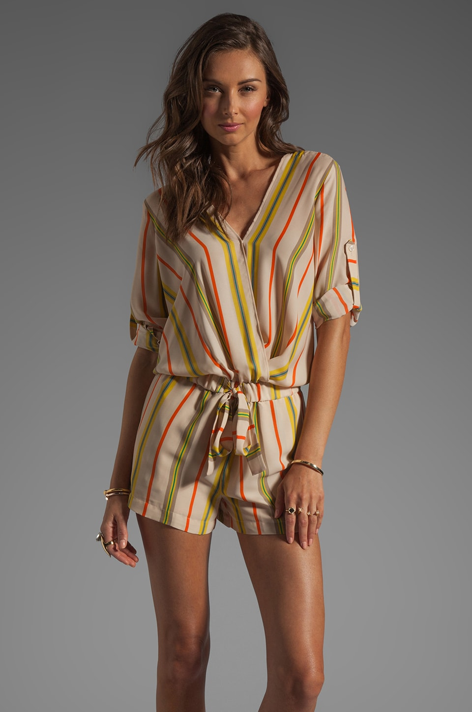 BCBGMAXAZRIA Striped Romper in Parfait Combo