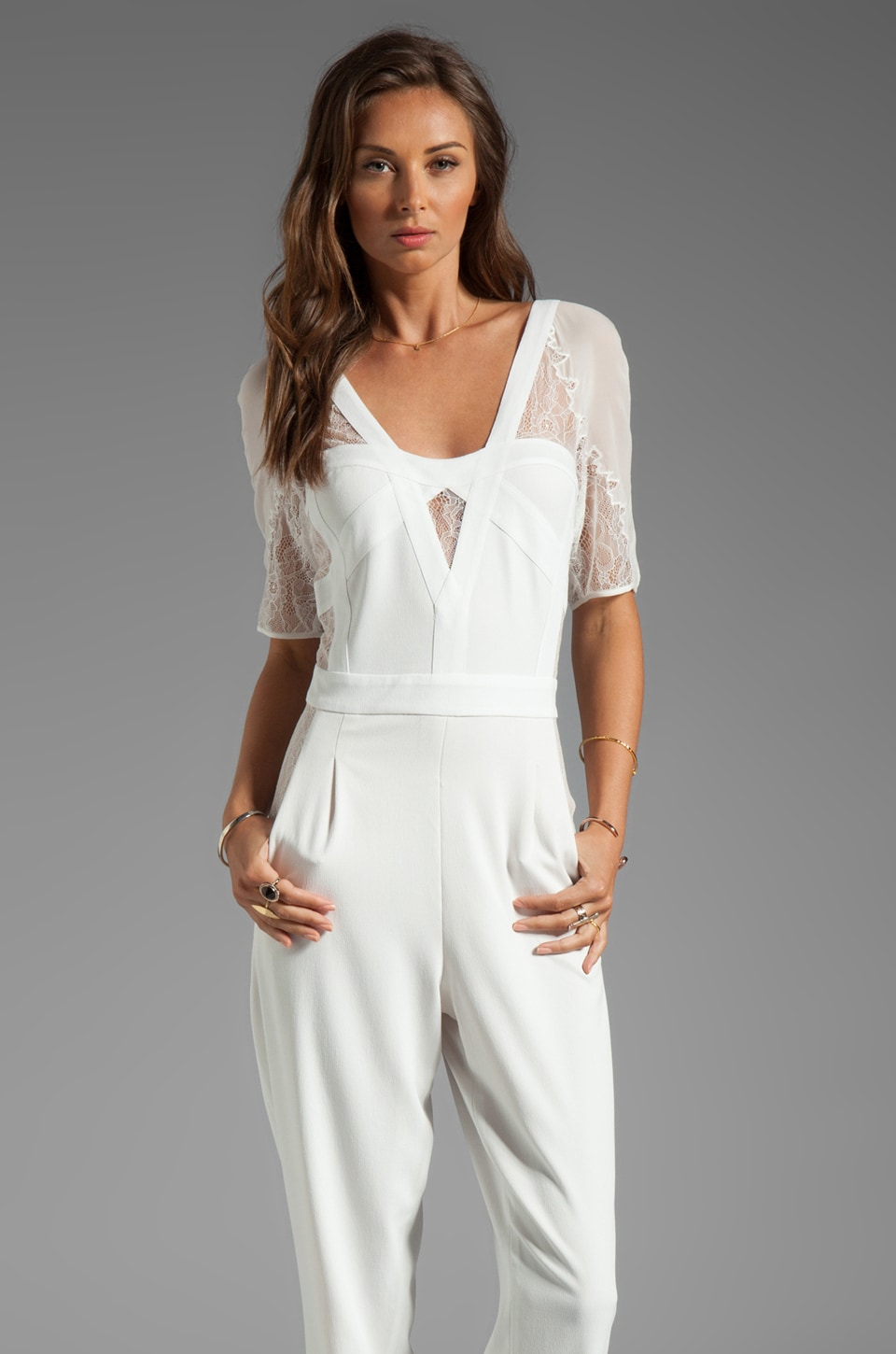 BCBGMAXAZRIA Runway Lace Sleeve Jumpsuit in Talc