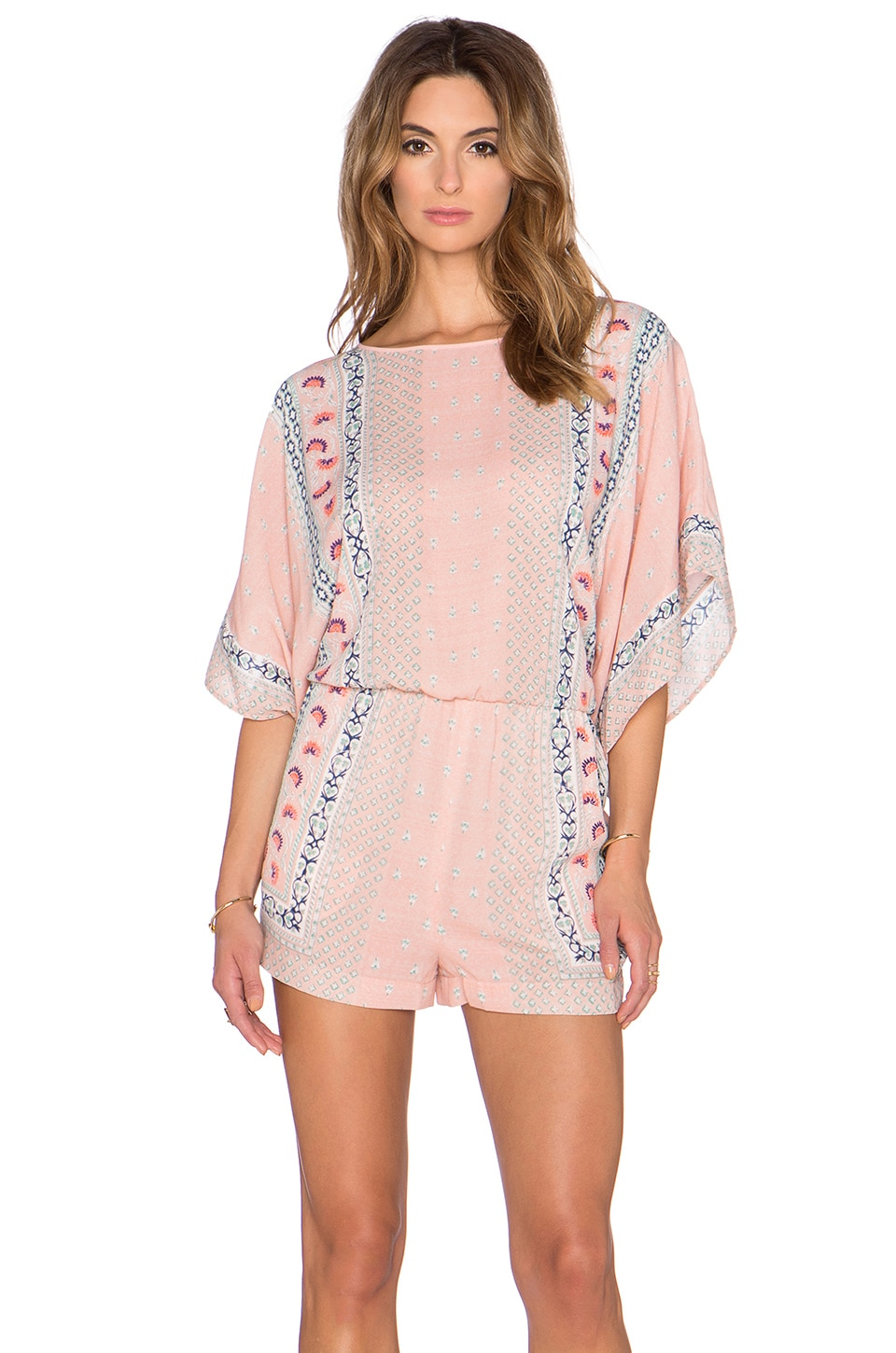 BCBGMAXAZRIA Caiti Kimono Sleeve Romper in Shadow Blush