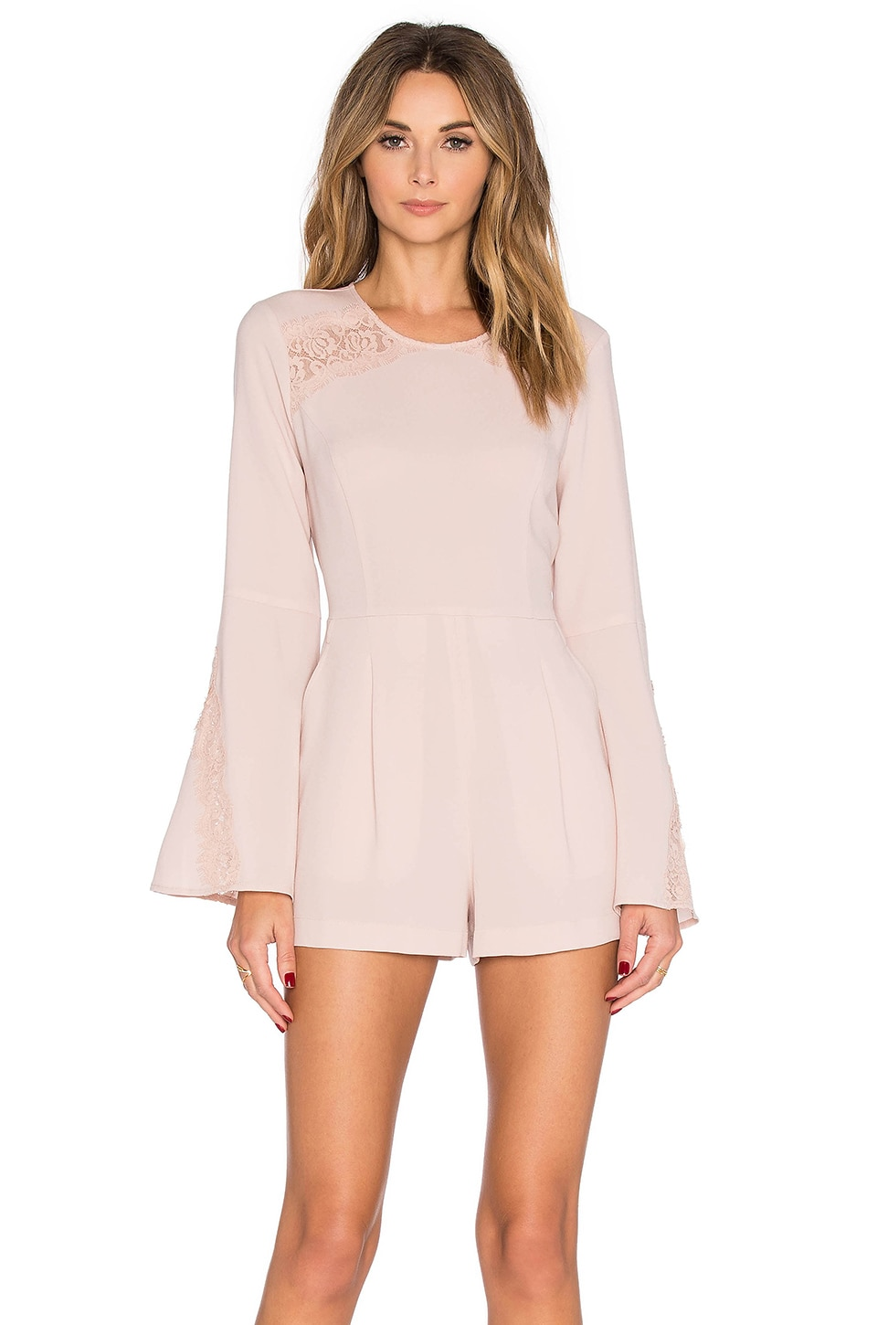 BCBGMAXAZRIA Bell Sleeve Romper in Bare Pink