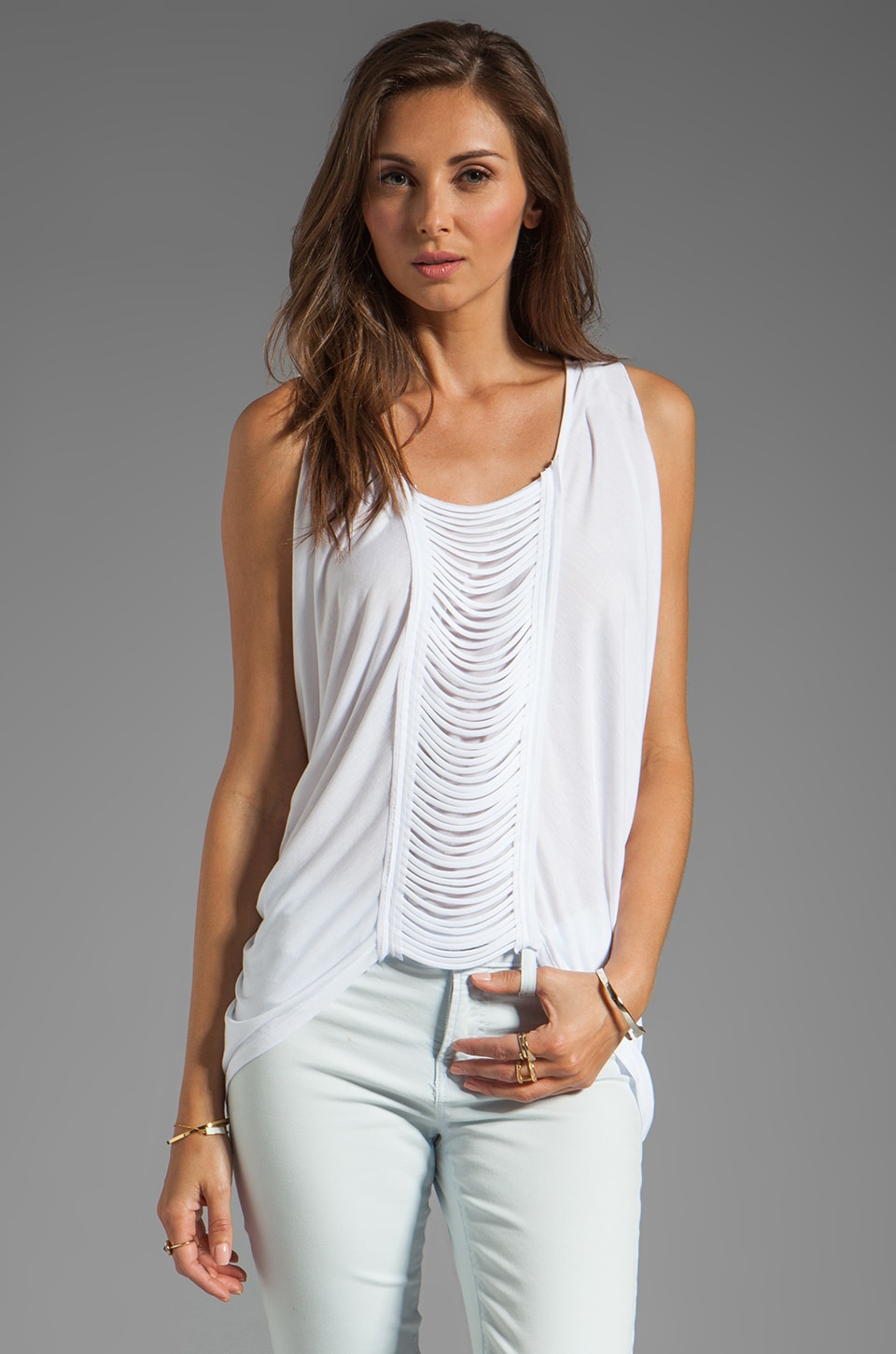 BCBGMAXAZRIA Sleeveless Top in White