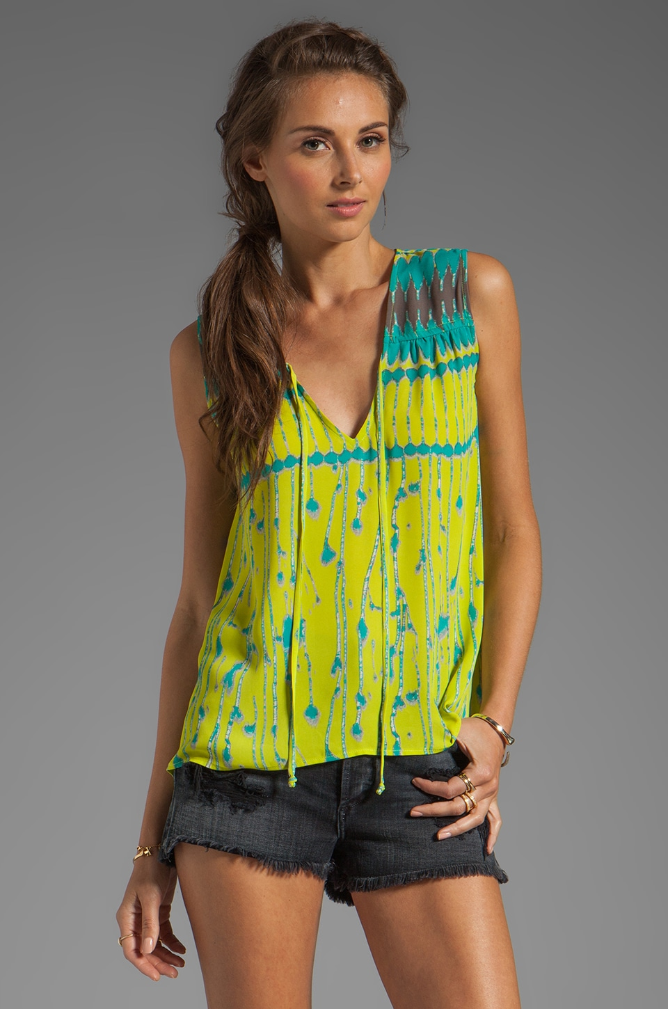 BCBGMAXAZRIA Flowy Top in Lemongrass Combo
