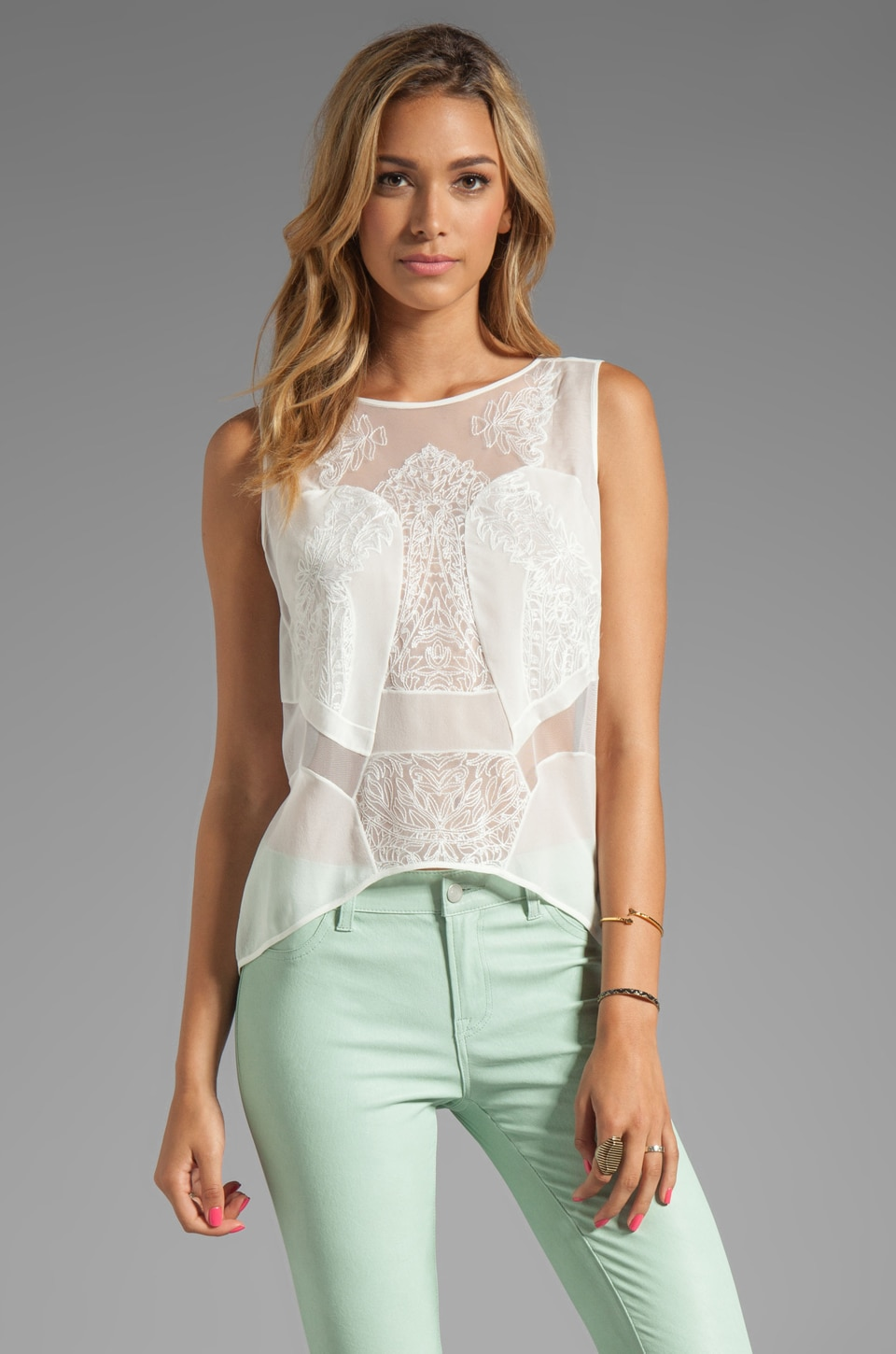 BCBGMAXAZRIA Lace Combo Top in Talc