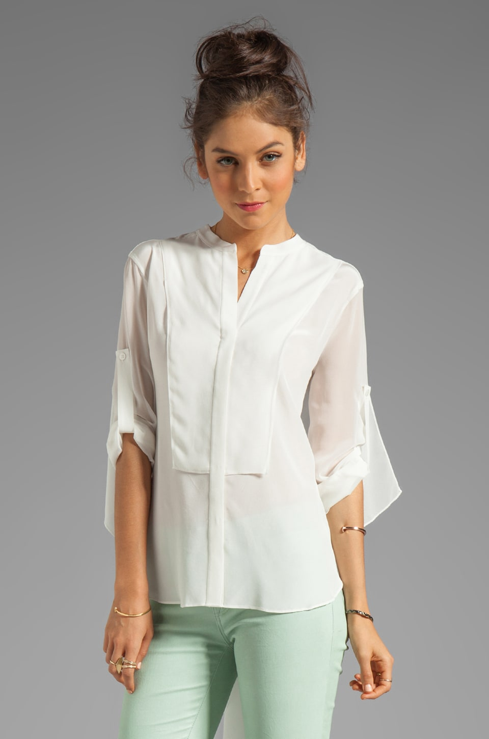 BCBGMAXAZRIA Elbow Sleeve Button Down Top in Off White
