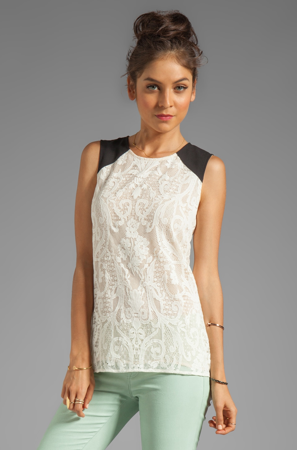BCBGMAXAZRIA Lace Combo Sleeveless Top in Ivory