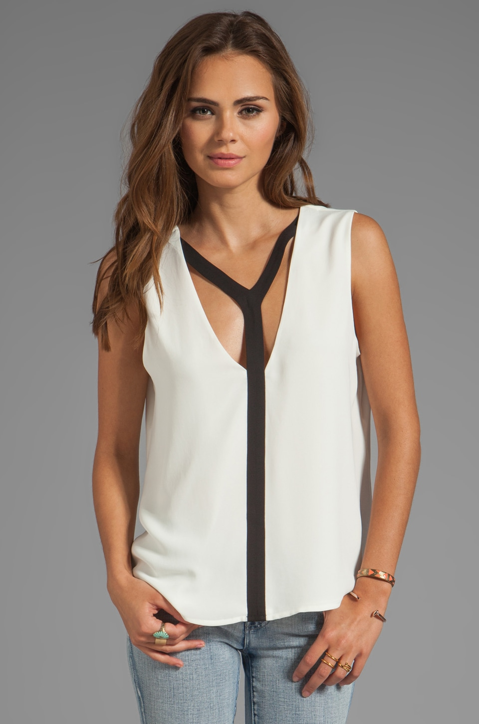 BCBGMAXAZRIA Black Trim Combo Top in Off White