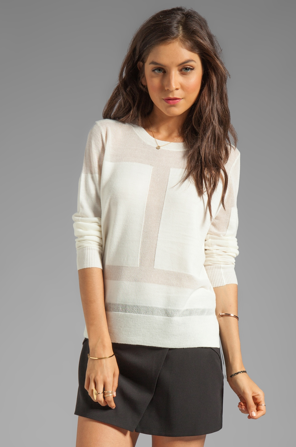 BCBGMAXAZRIA Sheer Combo Long Sleeve Top in Gardenia