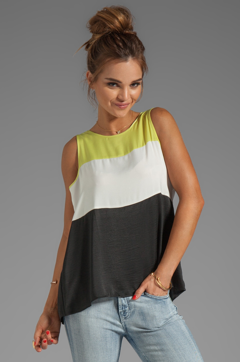 BCBGMAXAZRIA Sleeveless Colorblock Top in Off White Combo