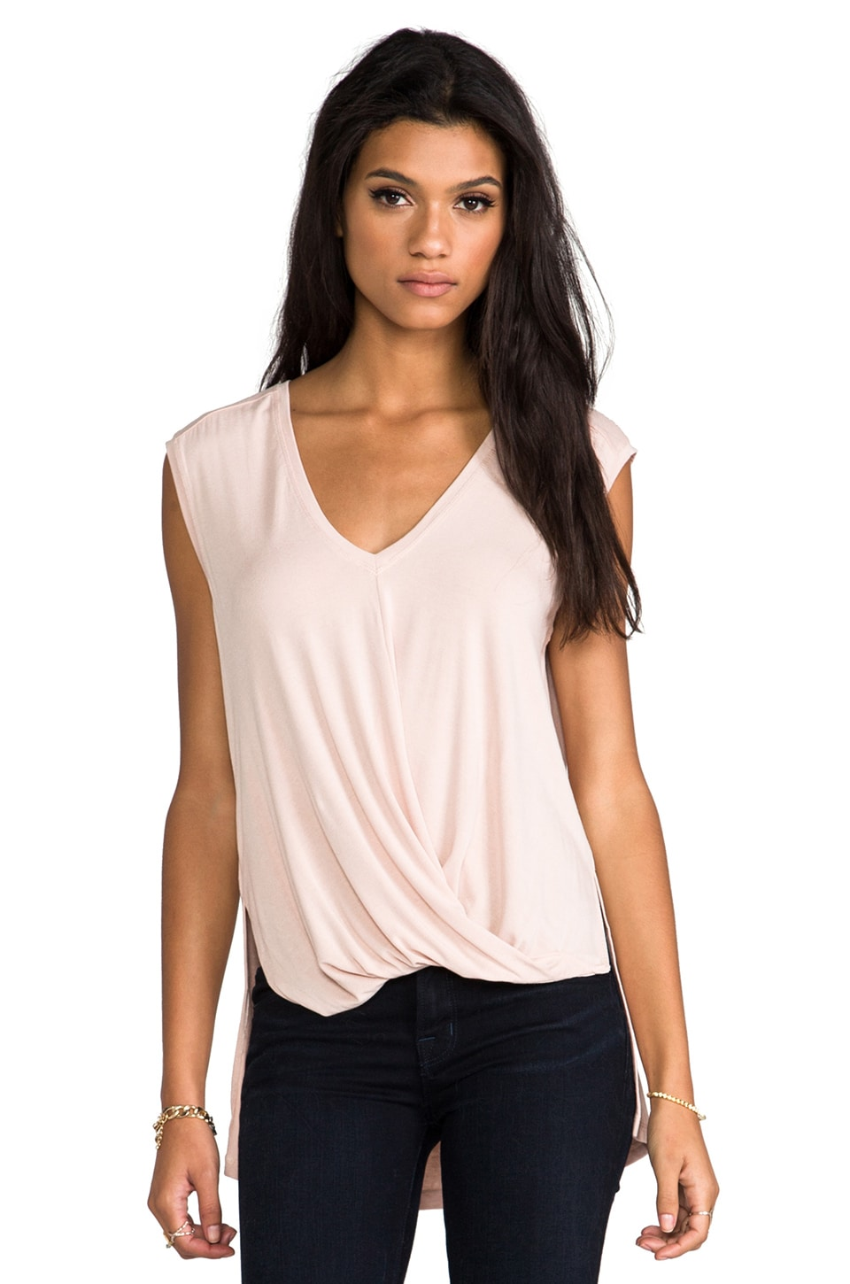 BCBGMAXAZRIA V-neck Drape Top in Bare Pink