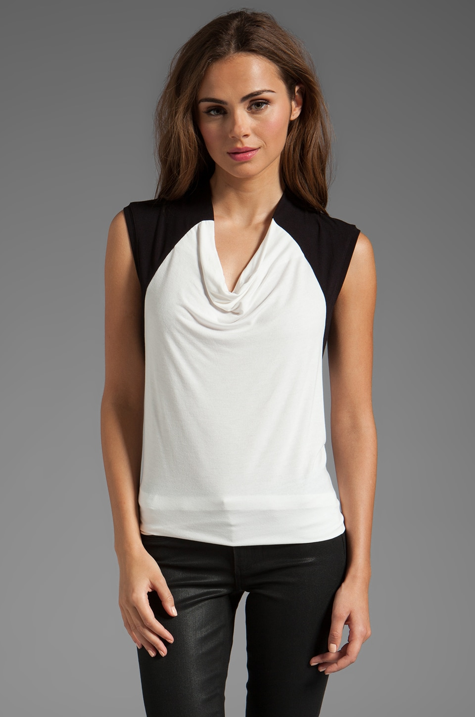 BCBGMAXAZRIA Split Front Color Block Top in White Combo