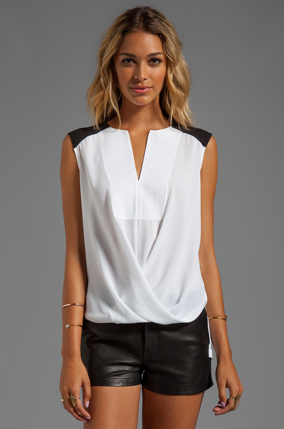 BCBGMAXAZRIA Split Front Color Block Top in White