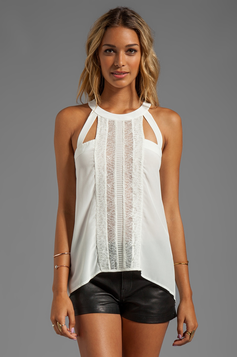 BCBGMAXAZRIA Lace Top in Off White