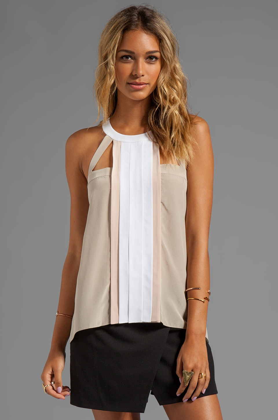 BCBGMAXAZRIA Color Block Tank in Pumice Combo