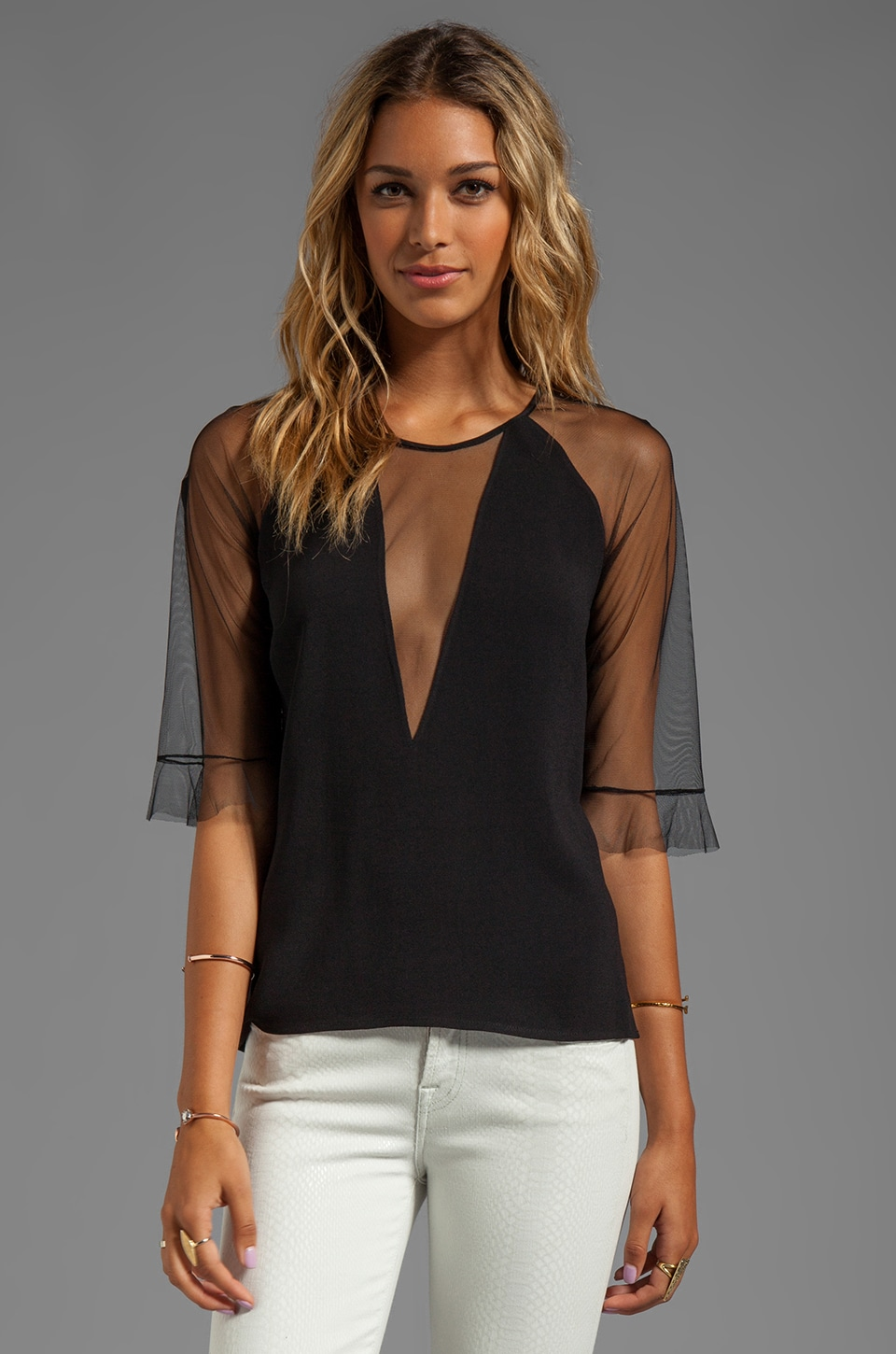 BCBGMAXAZRIA Combo Top in Black