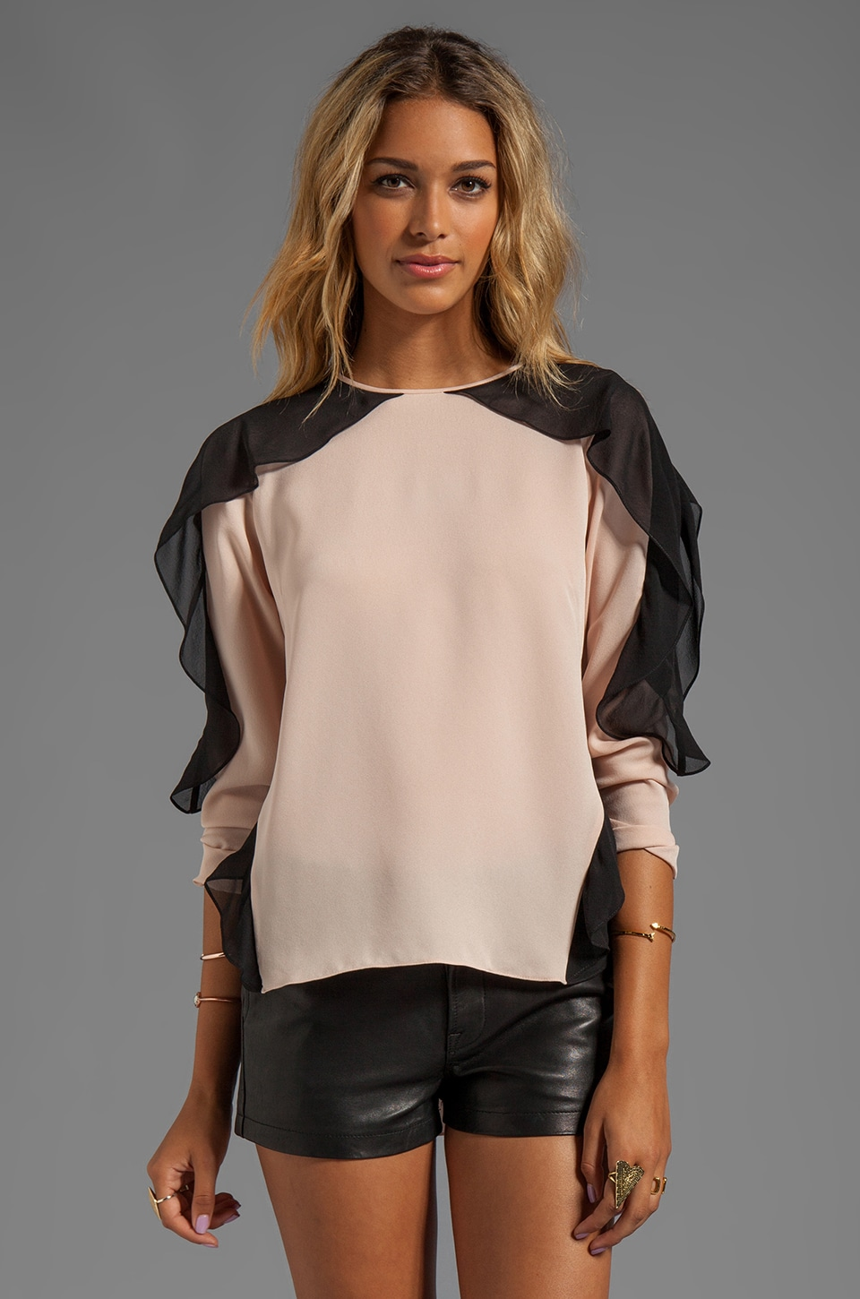 BCBGMAXAZRIA Shoulder Detail Top in Bare Pink