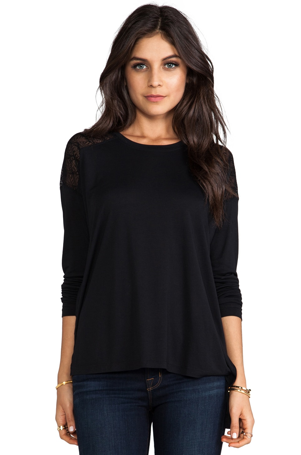 BCBGMAXAZRIA Long Sleeve Combo Top in Black