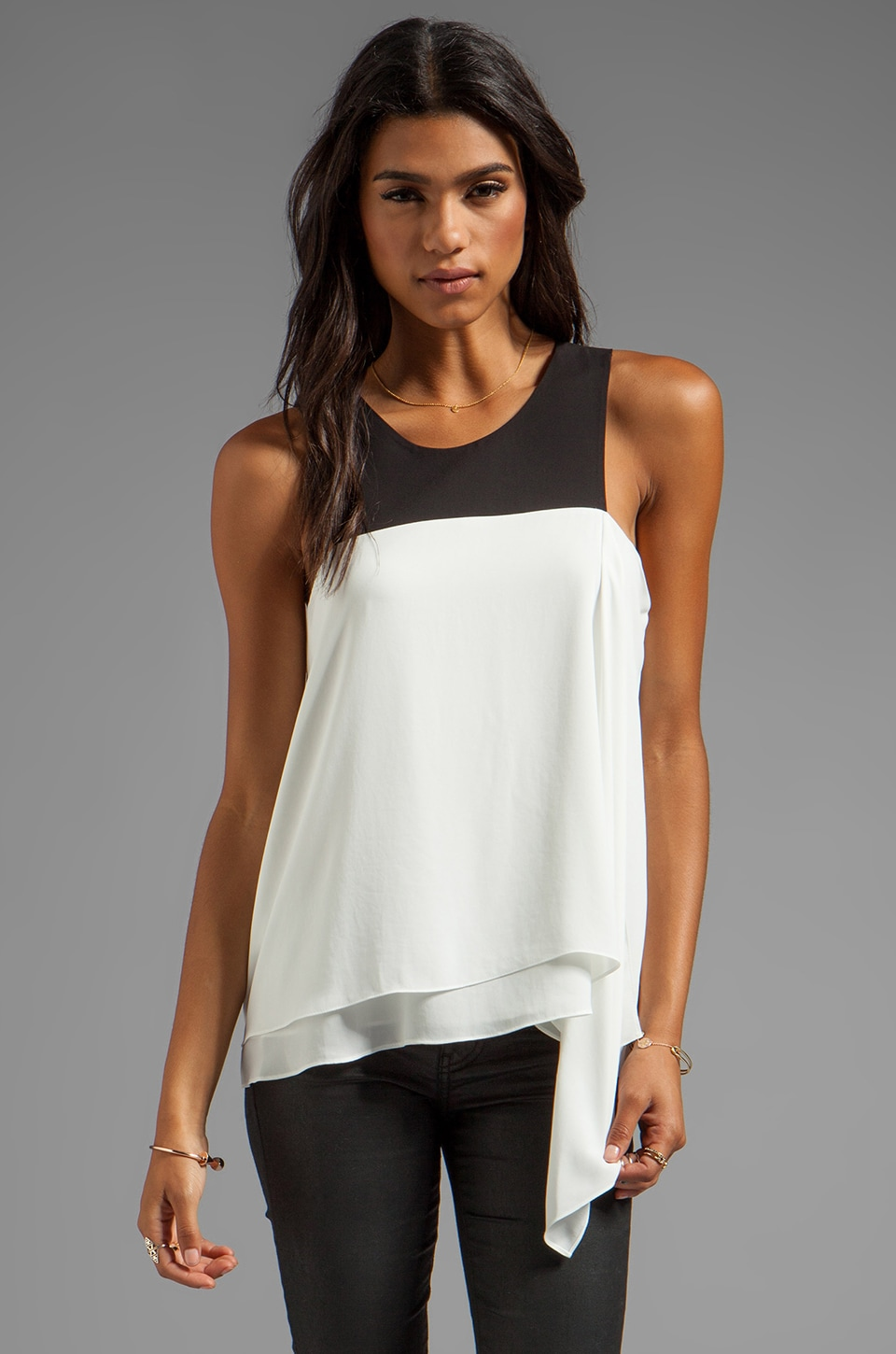BCBGMAXAZRIA Combo Tank in Off White