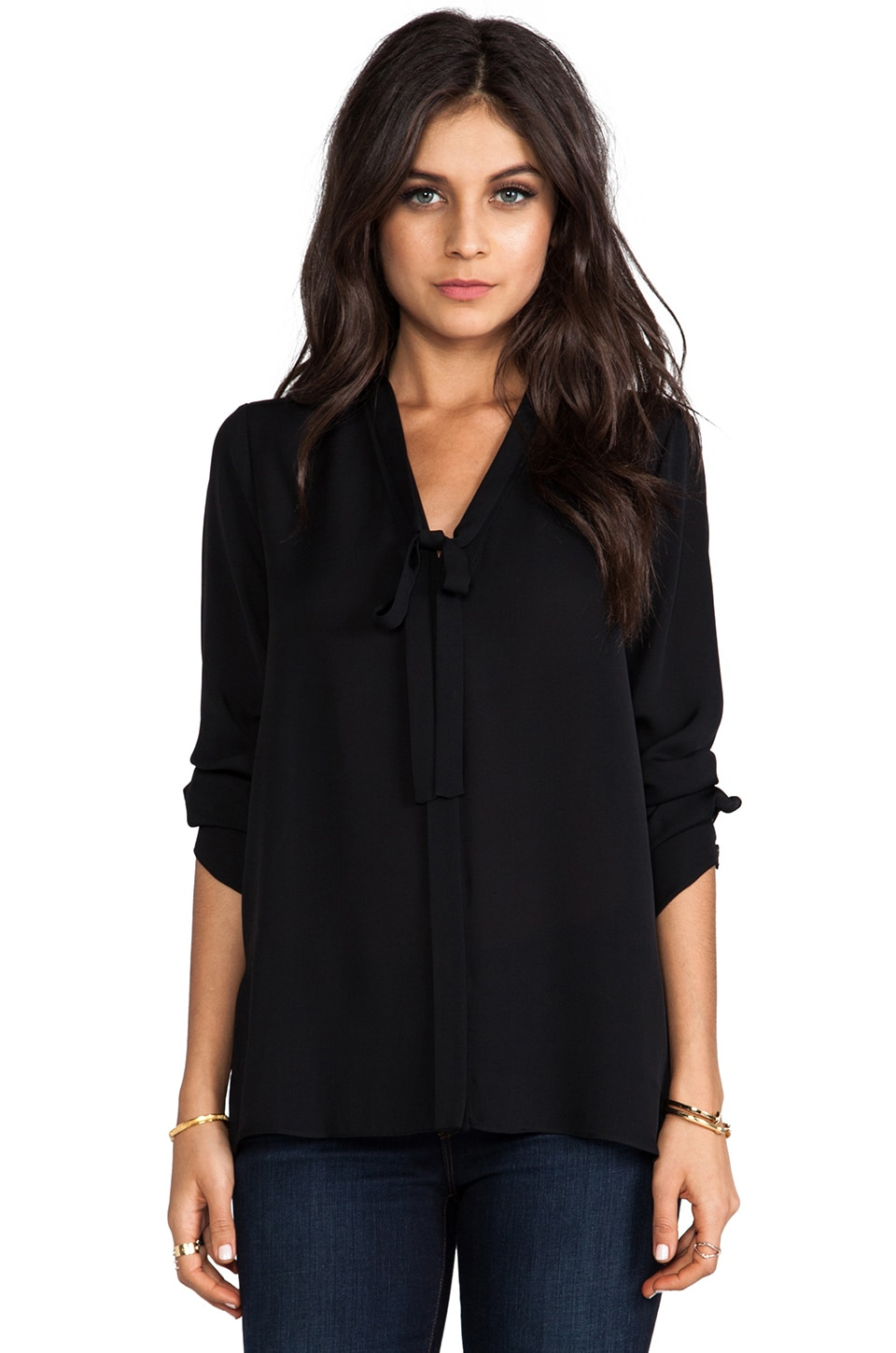 BCBGMAXAZRIA Tie Front Blouse in Black