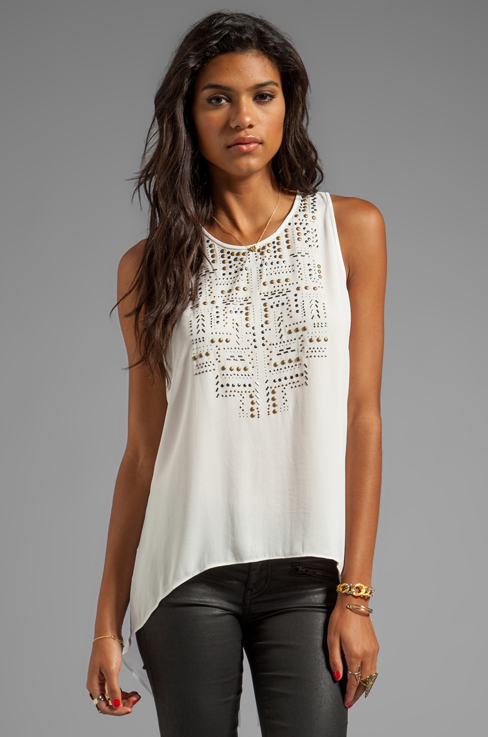 BCBGMAXAZRIA Sleeveless Top in Gardenia