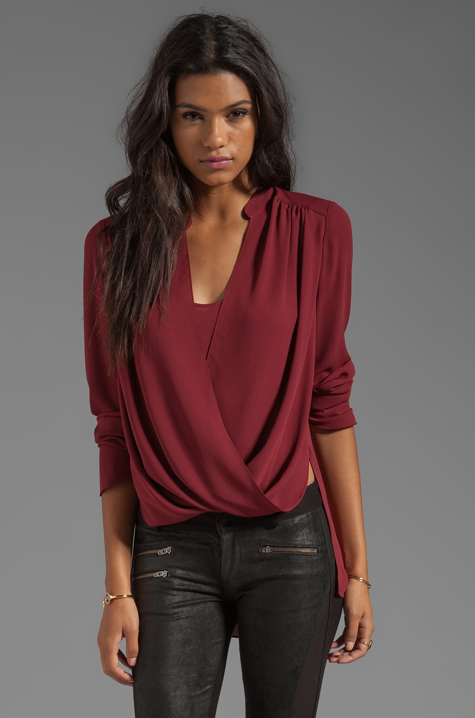 BCBGMAXAZRIA Wrap Blouse in Merlot