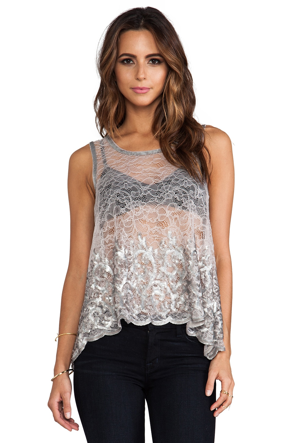 BCBGMAXAZRIA Echo Top in Low/Gull Grey Combo
