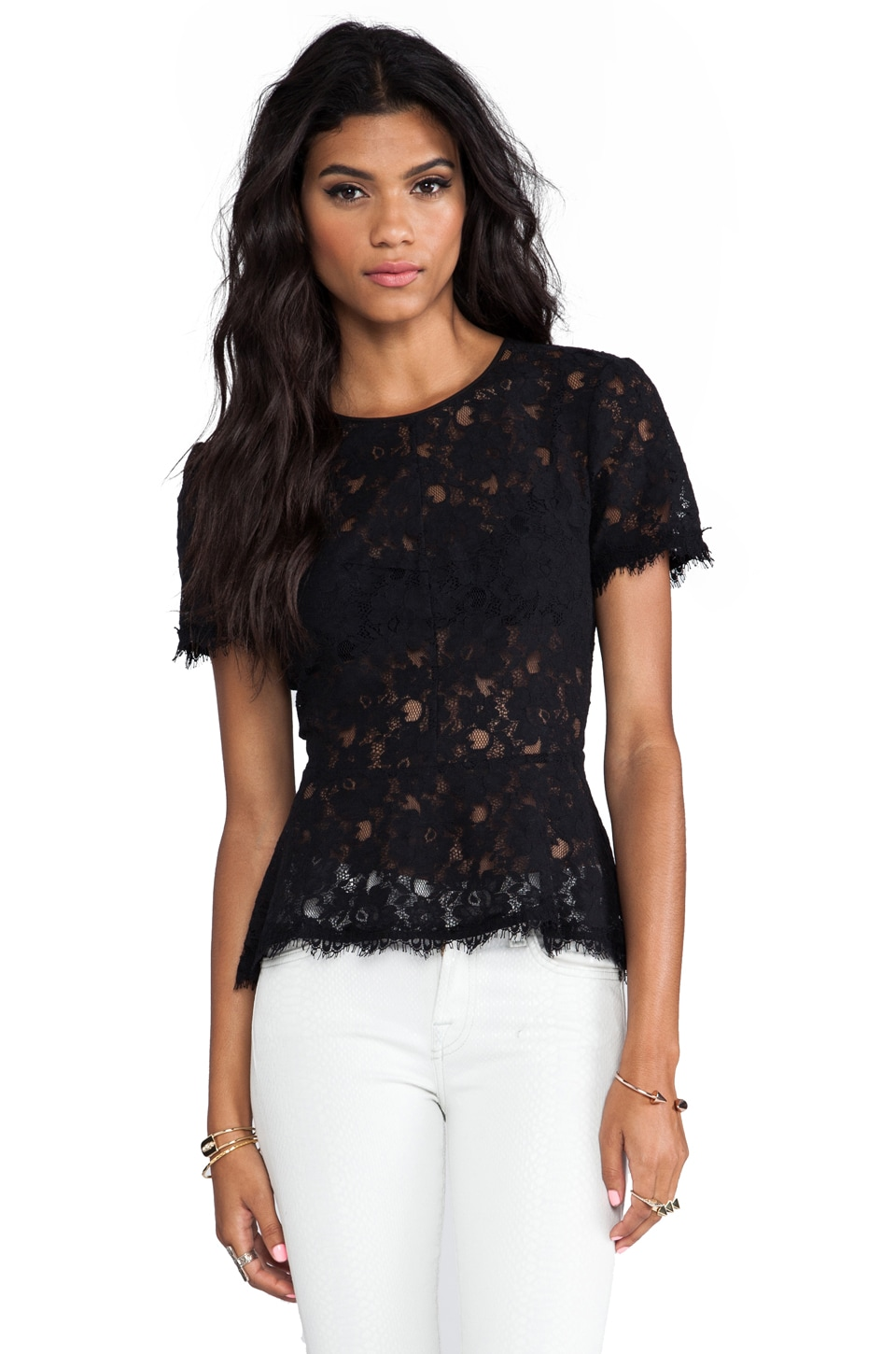 BCBGMAXAZRIA Evia Lace Top in Black