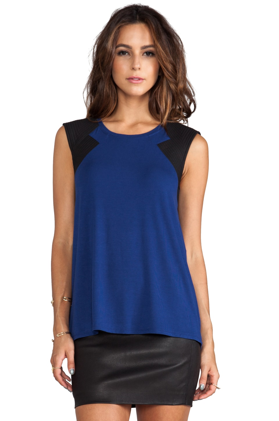 BCBGMAXAZRIA Selby Top in Blue Depths Combo