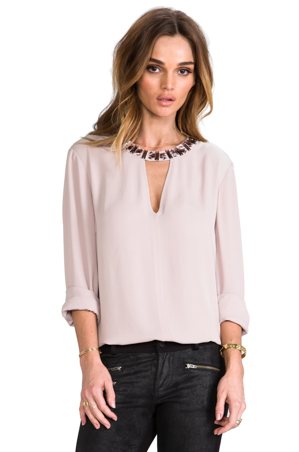 BCBGMAXAZRIA Frances Blouse in Mauve Rose