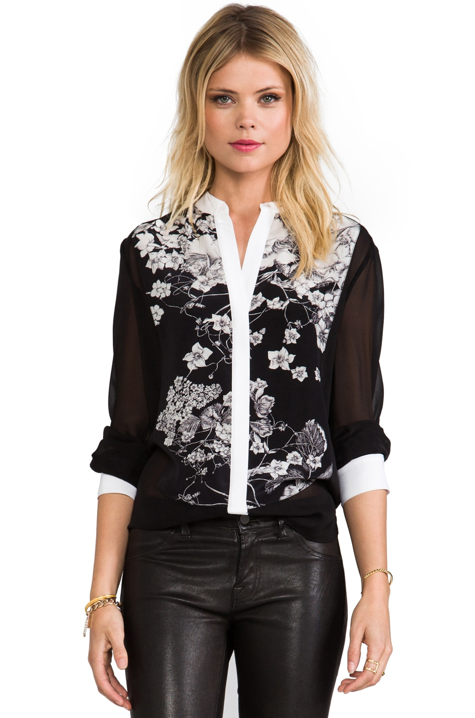 BCBGMAXAZRIA Keline Button Up Top in Black Combo