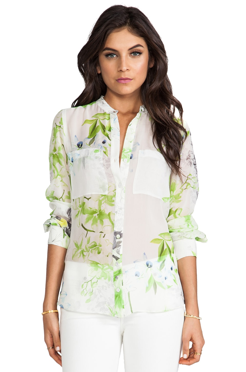 BCBGMAXAZRIA Top in Evergreen Combo