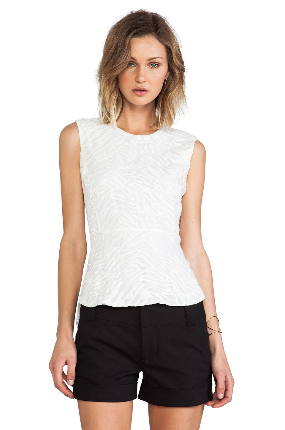 BCBGMAXAZRIA Structured Top in Off White