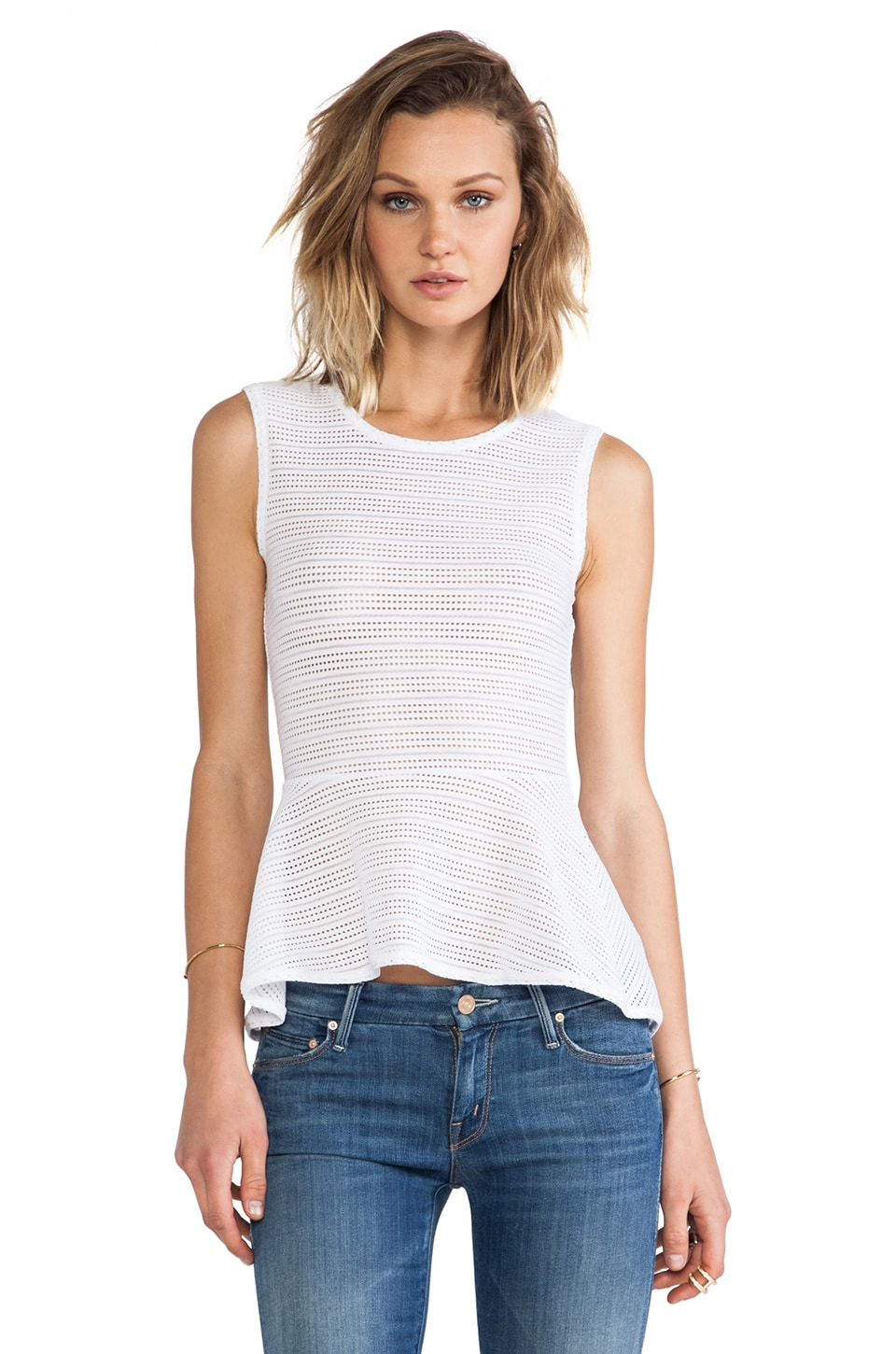 BCBGMAXAZRIA Evia Peplum Top in White
