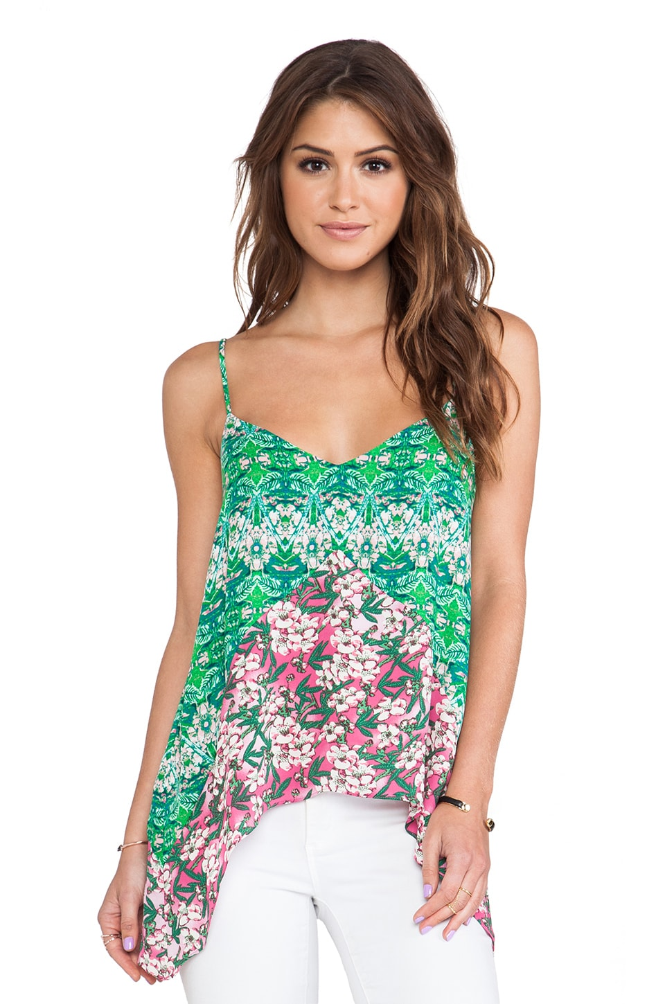 BCBGMAXAZRIA Cora Tank in Kelly Green Combo