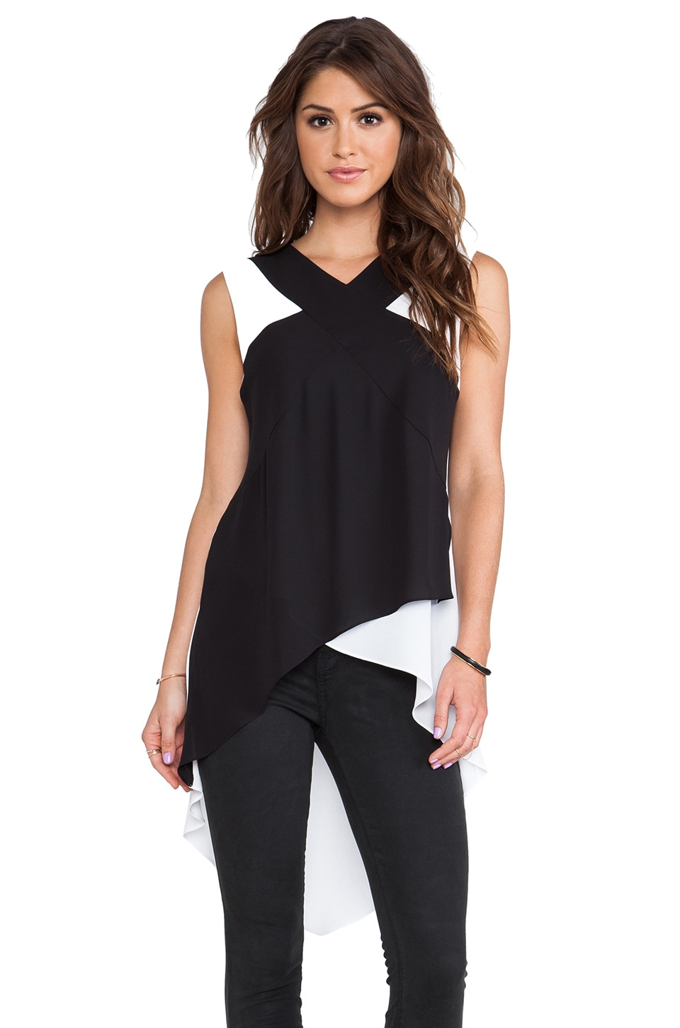 BCBGMAXAZRIA Veronika Top in Black Combo
