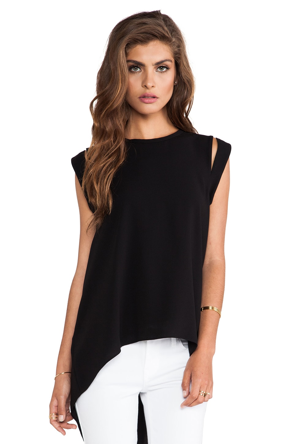 BCBGMAXAZRIA Calin Open Back top in Black