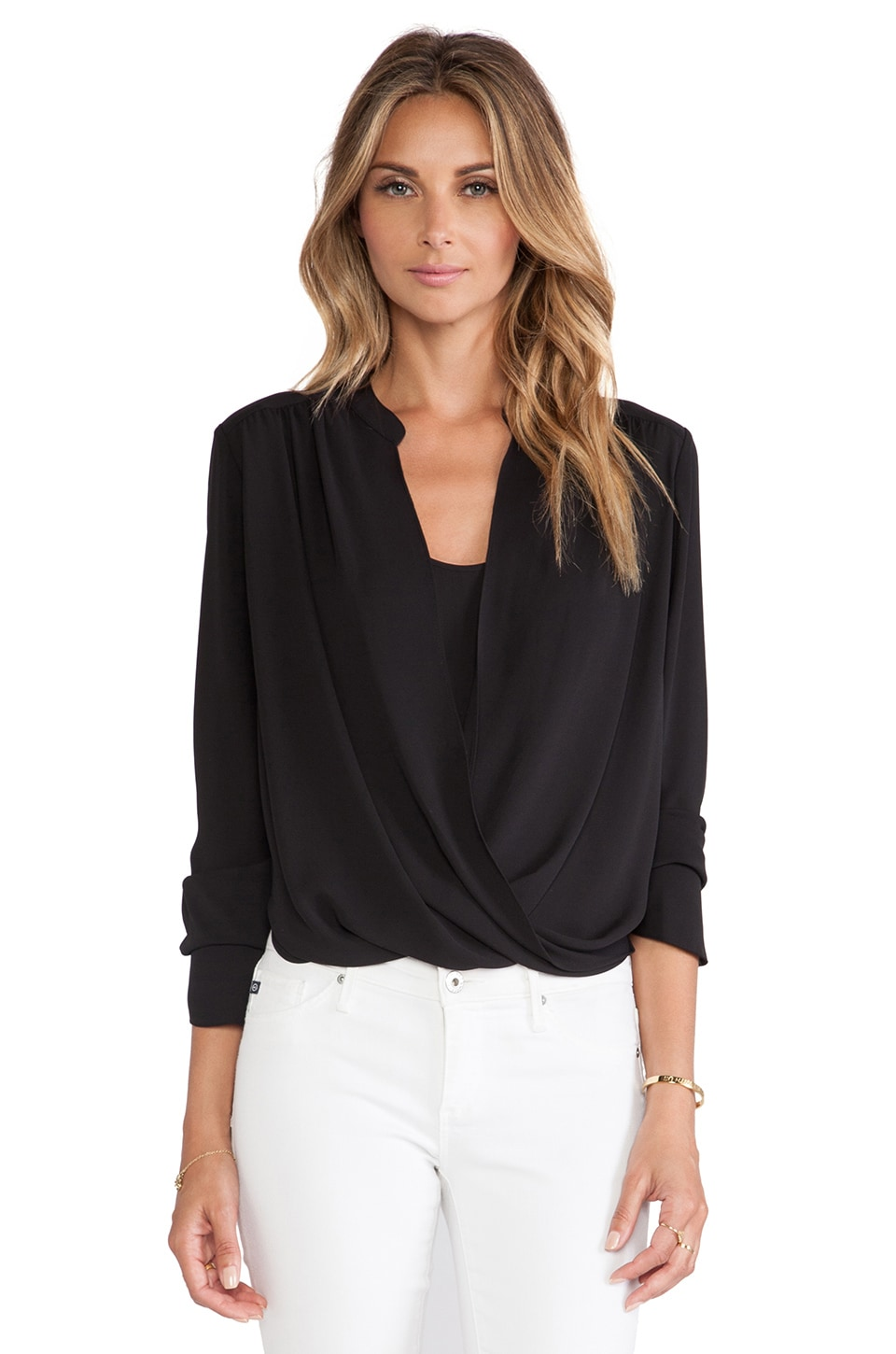 BCBGMAXAZRIA Wrap Top in Black