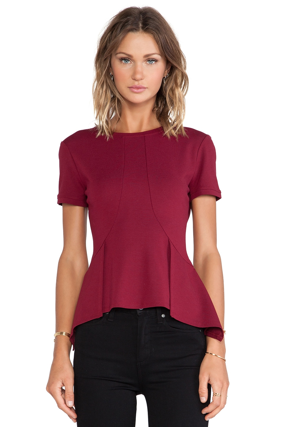 BCBGMAXAZRIA Scarlet Peplum Top in Deep Cranberry