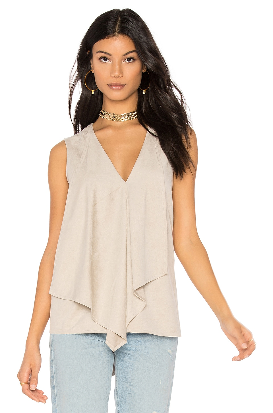 BCBGMAXAZRIA Drape Front Tank in Light Stone